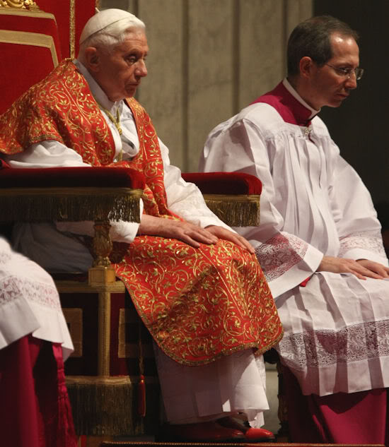Pope Benedict wearing a beautifully embroidered Roman chasuble during a Good Friday Rite